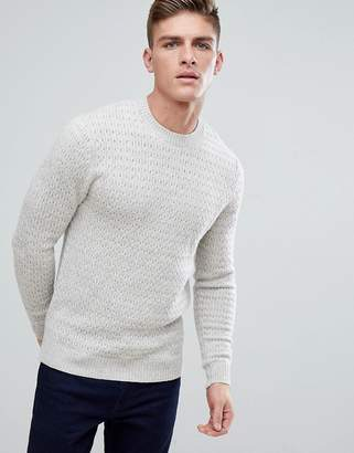 Jack Wills Wheatfield Textured Stitch Crew Neck Sweater In Off White