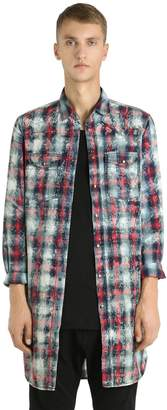 Diesel Black Gold Checked Bleached Poplin Long Shirt
