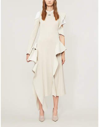 Off-White Cold-shoulder asymmetric-hem stretch-jersey midi dress