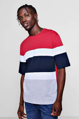 boohoo Drop Shoulder Colour Block T-Shirt With 3/4 Sleeves