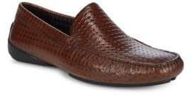 Karl Lagerfeld Diamond Embossed Leather Loafers