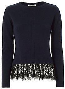 Autumn Cashmere Lace Hem Crew Knit $348 thestylecure.com