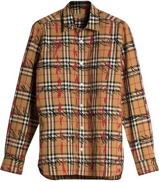 Burberry Scribble Check Cotton Shirt