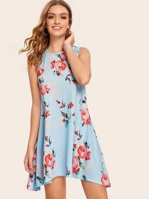Shein Floral Print Asymmetrical Hem Trapeze Dress