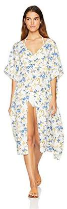 Oasis Wild Beachwear Women's Swimwear Long Printed Front Stitch-Slit Kimono Cover up Cardigan