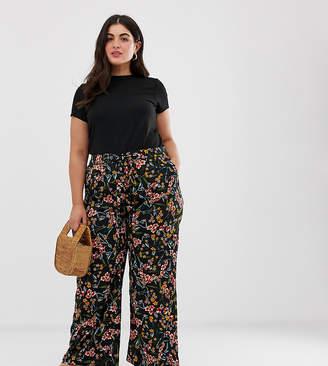 Brave Soul Plus floral print wide leg trousers with tie waist