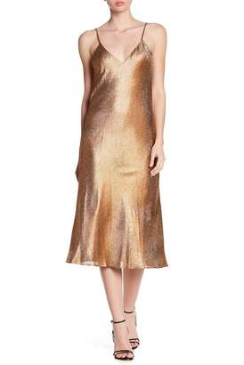 Cynthia Rowley Metallic Silk Blend Midi Dress