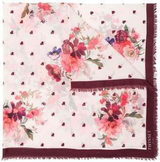 Twin-Set heart and floral scarf