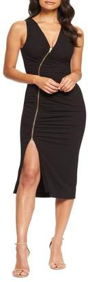 Dress the Population Ivy Ruched Zip Front Sleeveless Body-Con Midi Dress