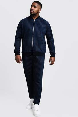 Big & Tall MAN Pinstripe Cropped Smart Tracksuit