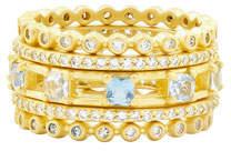 Freida Rothman Ocean Azure Rings, Set of 5, Size 6