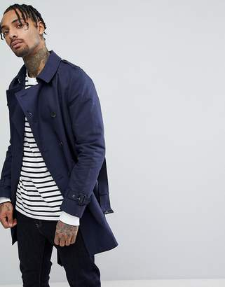 Asos DESIGN shower resistant double breasted trench in navy