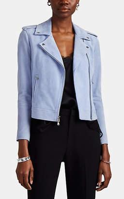 L'Agence Women's Suede Moto Jacket - Lt. Blue