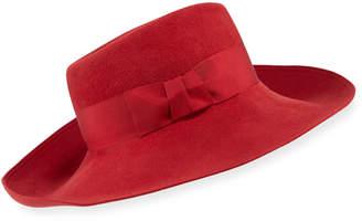 Eric Javits Candice Velour Fedora Hat w/ Ribbon Bow