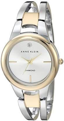 Anne Klein Women's AK/2629SVTT Diamond-Accented Dial Two-Tone Open Bangle Watch