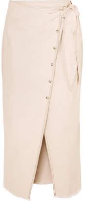 Nanushka - Opal Asymmetric Denim Wrap Skirt - Cream