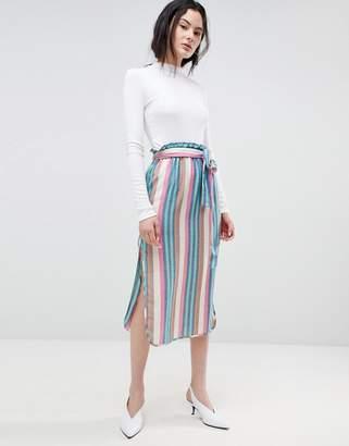 Asos Design DESIGN midi skirt with tie waist in stripe