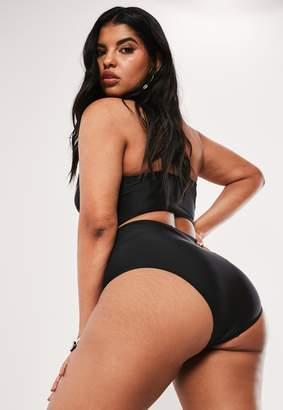 Missguided Plus Size Black High Waisted High Leg Bikini Bottoms