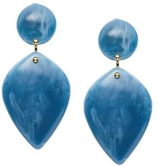 Fossil Teardrop Regatta Blue Resin Earrings jewelry GOLD
