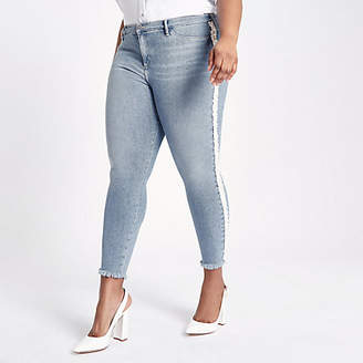 River Island Plus Blue Molly pearl embellished jeggings