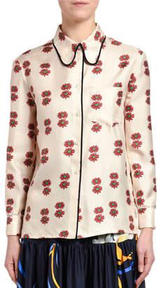 Double J Flower-Square Satin Shirt