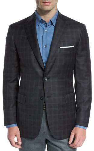 Brioni Brioni Plaid Wool Two-Button Sport Coat, Brown