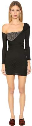 Roberto Cavalli Embellished Georgette Jersey Mini Dress