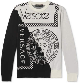 Versace Logo-intarsia Cotton And Wool-blend Sweater - Ecru