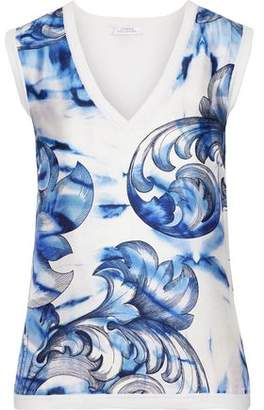 Versace Printed Twill-paneled Silk And Cotton-blend Top