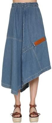 Loewe Asymmetrical Cotton Denim Skirt
