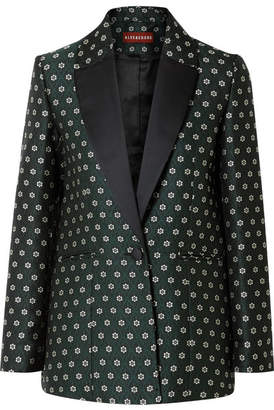 ALEXACHUNG Satin-trimmed Floral-jacquard Blazer - Dark green