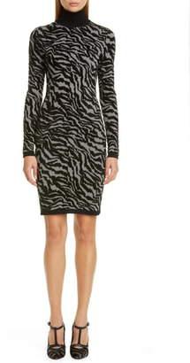 Michael Kors Collection Zebra Jacquard Long Sleeve Sweater Dress