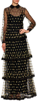 Valentino Floral Embroidered Tiered Gown