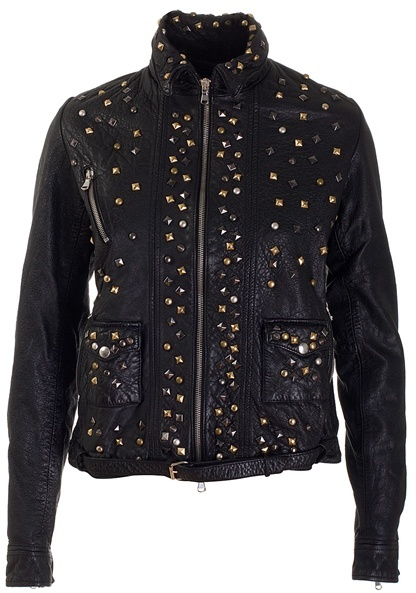 MEATPACKING D. - Black worn leather studded jacket