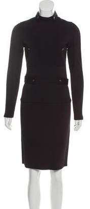 Saint Laurent Button-Accented Knee-Length Dress