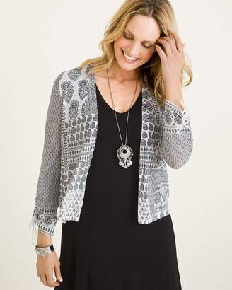 Chico's Chicos Black and White Printed Ruched-Sleeve Cardigan