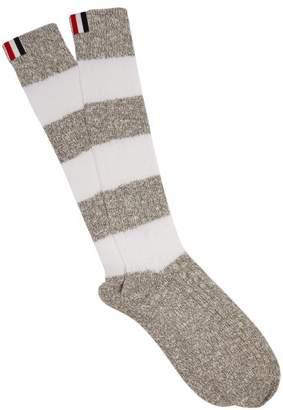 Thom Browne - Striped Cotton Socks - Mens - White