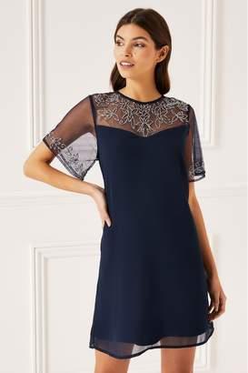 Lipsy Embellished Shift Dress - 4 - Blue