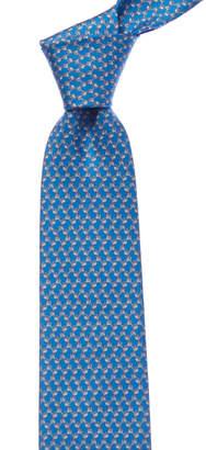 Salvatore Ferragamo Light Blue Geometric Dog Silk Tie