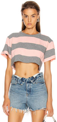 Alexander Wang Wash and Go Wide Stripe Crop in Charcoal & Blush | FWRD
