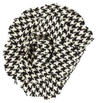 Chanel Houndstooth Camellia Brooch