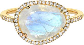 Zoe Lev Jewelry 14k Gold Diamond & Moonstone Ring