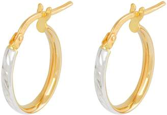 Love Gold Love GOLD 9ct Gold 23mm Diamond Cut Oval Tube Hoop Earrings with Rhodium Plated Edge