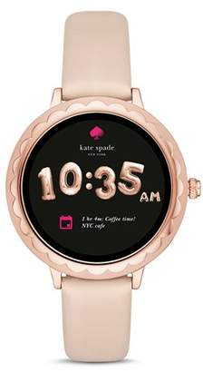 Kate Spade Scalloped Case Leather Strap Smartwatch, 42mm
