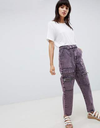 Asos Design Carpenter Boyfriend Jeans With Utility Styling In Pink Acid Wash