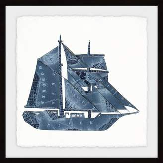 Breakwater Bay 'Blue Sailboat' Framed Drawing Print