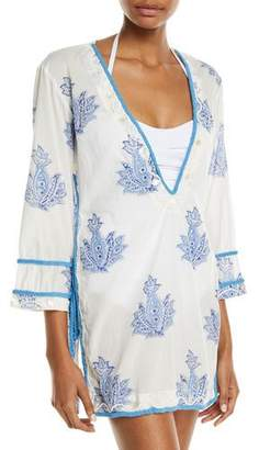 Letarte Paisley Embroidered Coverup Tunic