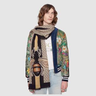 Gucci Bee Web print wool stole