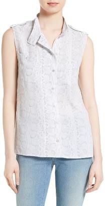 Women's Equipment Alma Snakeskin Print Silk Shirt $238 thestylecure.com
