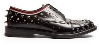 Gucci - Beyond Stud Embellished Leather Derby Shoes - Mens - Black Multi
